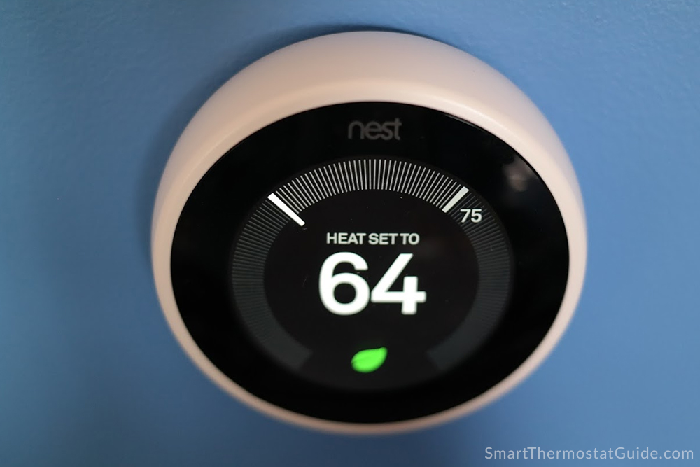 Photo of Nest Learning Thermostat 3rd gen on a blue wall