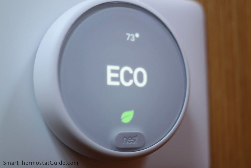 "Photo of the Nest Thermostat E in ""Eco"" mode."