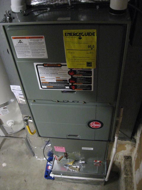 Photo of a 2010 Rheem furnace