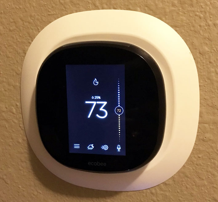 Photo of the ecobee3 lite's screen lit up