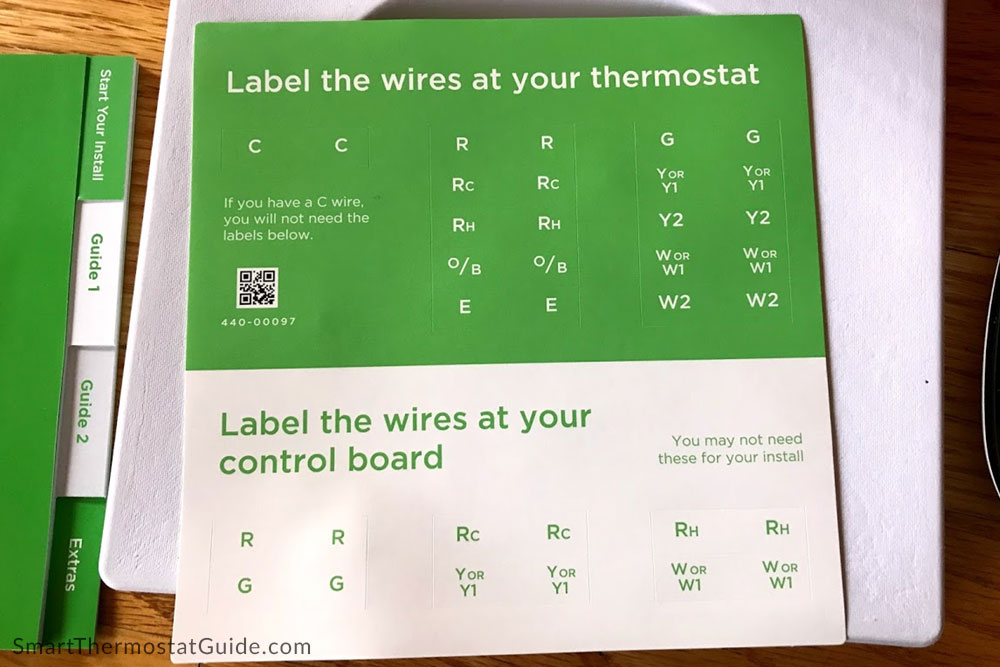 Another nice extra: a sheet of stickers to label your thermostat wires before you disconnect your existing thermostat.