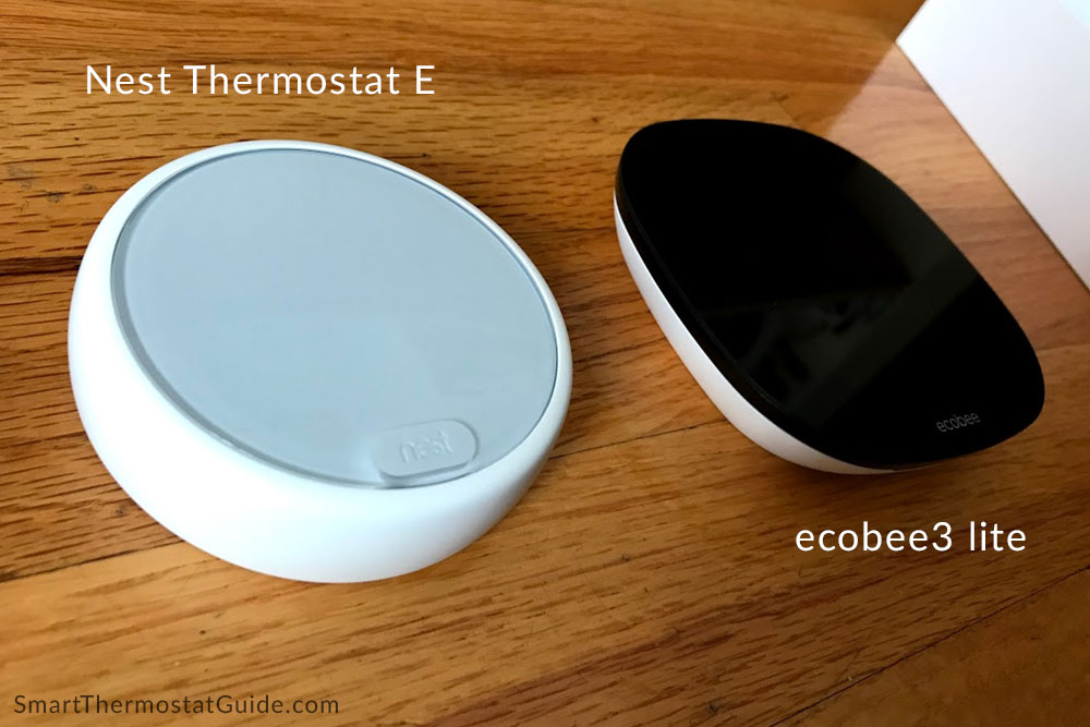 Photo of Nest Thermostat E thermostat hardware and ecobee3 lite hardware sitting side-by-side.