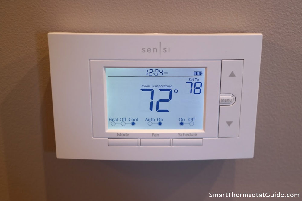Photo of Emerson Sensi thermostat on wall