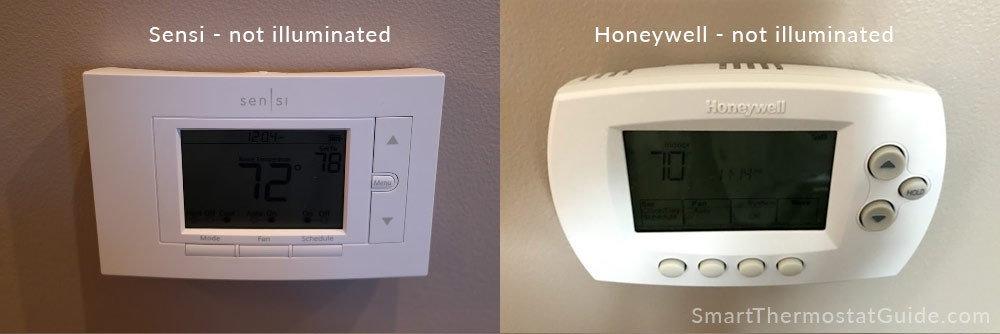 Sensi thermostat and Honeywell thermostat with screens dim (unlit)