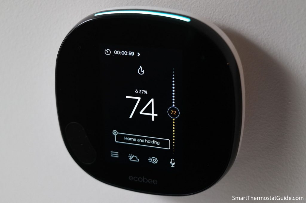 Photo of the Ecobee SmartThermostat hardware with an active Alexa timer countdown displayed on the interface. The countdown numbers are small and in the upper left corner.