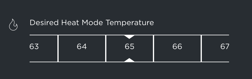 Screenshot of Ecobee's slider for setting the desired heating temperature.