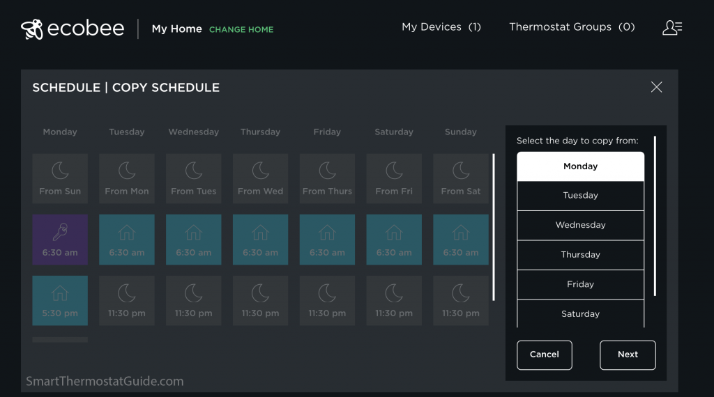 Screenshot: setting up a schedule on ecobee.com by copying one day into other days.
