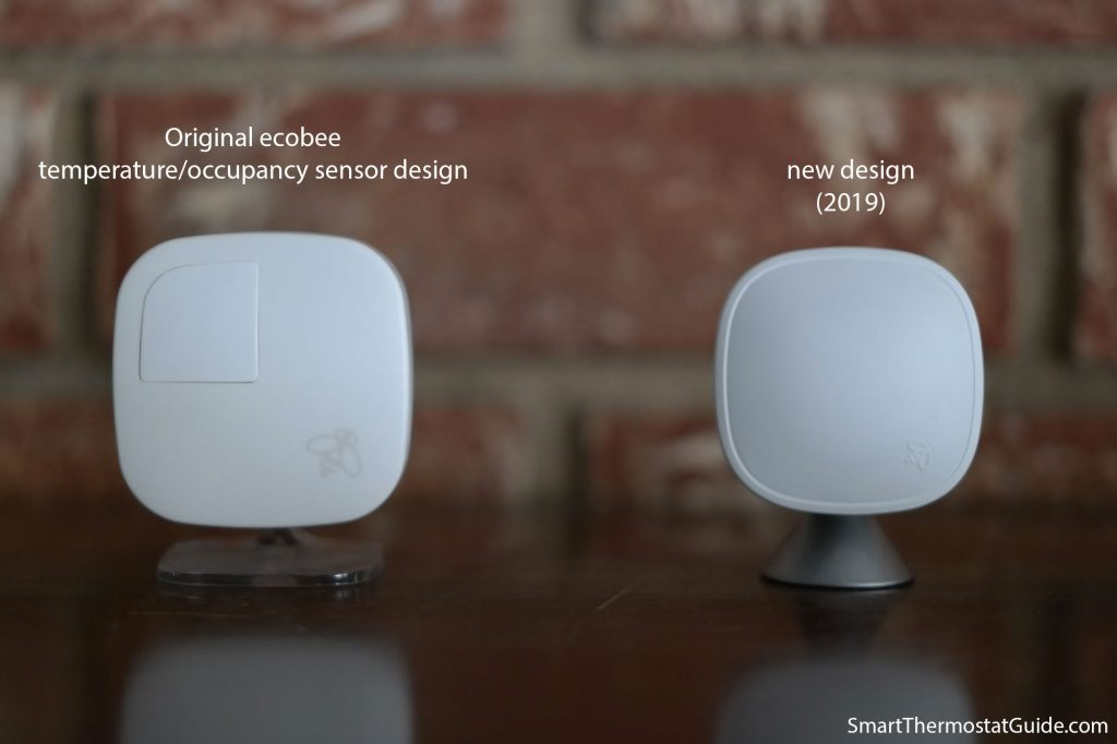 Photo showing the previous Ecobee sensor and the new Ecobee SmartSensor side by side. The new one is slightly shorter and sits on a stylish conical base instead of a plastic base.
