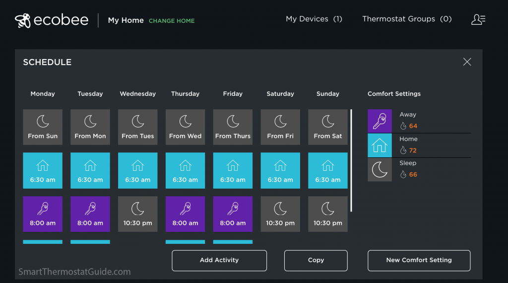 Screenshot of setting up a schedule using the ecobee.com portal.