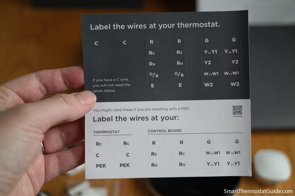 Photo of the Ecobee wiring labels.