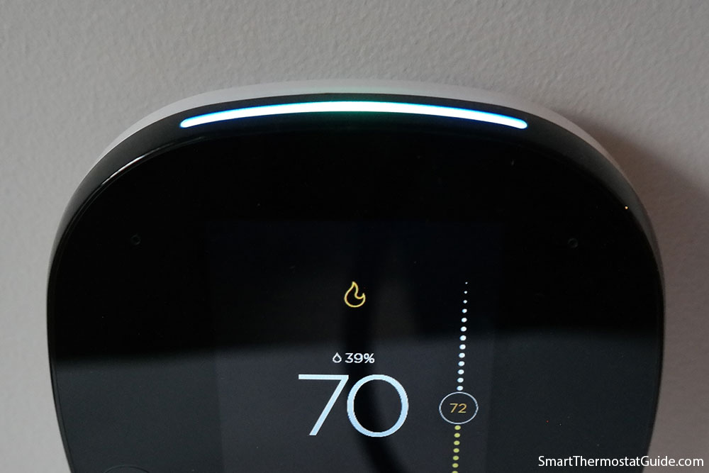 Photo showing the blue bar lighting up to indicate that Alexa is listening for a command.